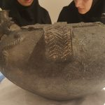 Photographs from the process of  identifying  and registering the condition of a Ritual Jar from Sanahin at the National Museum of Iran